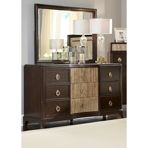 Liberty Furniture Manhattan 9-Drawer Dresser with Champagne Ring Hardware and Beveled Wood Framed Mirror Set