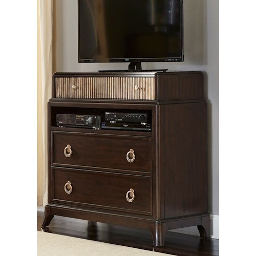 Liberty Furniture Manhattan 3-Drawer Media Chest with Champagne Ring Hardware