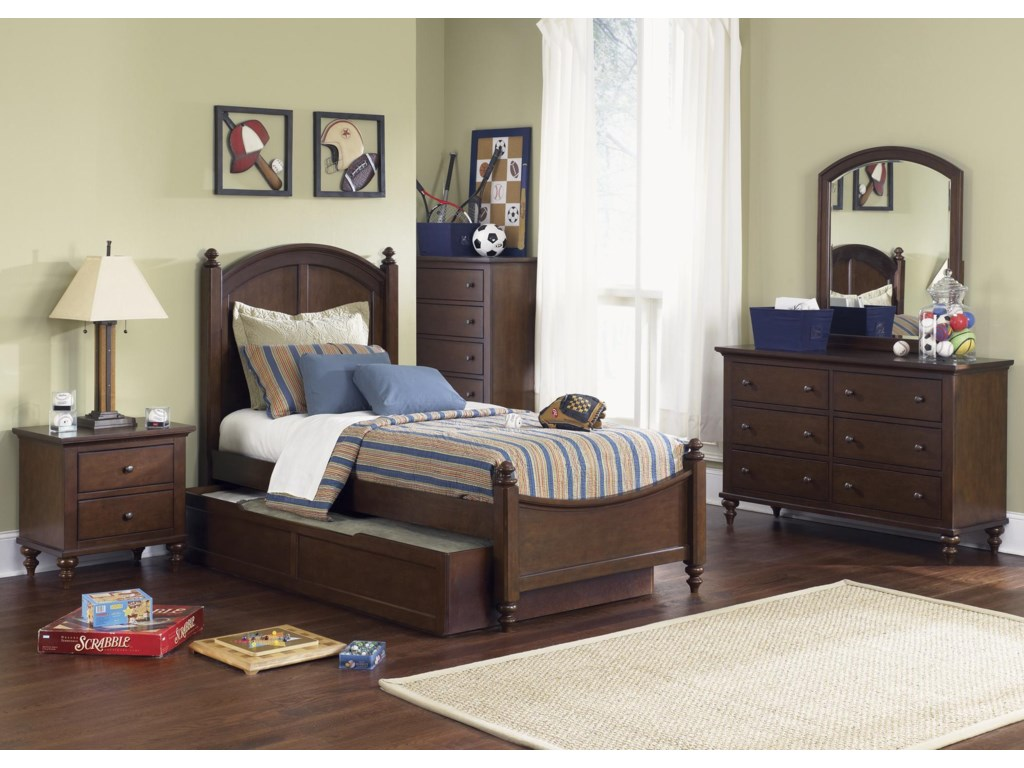Shown with Twin Bed, Trundle, Chest, Dresser, and Mirror