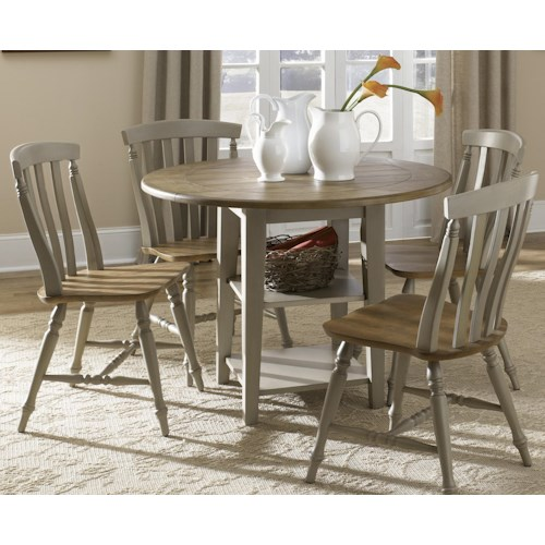 Liberty Furniture Al Fresco Five Piece Drop Leaf Table and Slat Back Chairs Set
