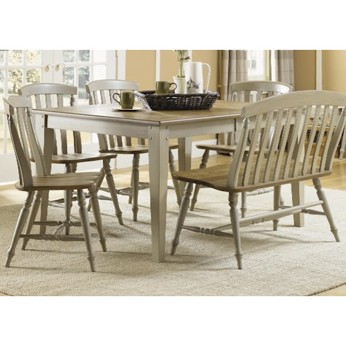 Liberty Furniture Al Fresco Six Piece Dining Table Set with Chairs and Bench