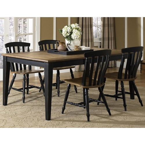 Vendor 5349 Al Fresco II Five Piece Rectangular Table and Slat Back Chairs Set