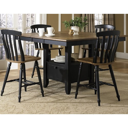 Liberty Furniture Al Fresco II Five Piece Gathering Table with Counter Height Slat Back Chairs Set