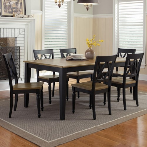 Liberty Furniture Al Fresco II Seven Piece Rectangular Table and Double X-Back Chairs Set