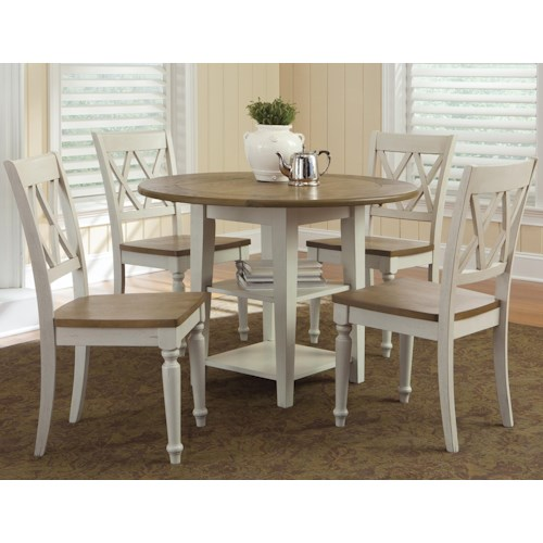 Vendor 5349 Al Fresco III Five Piece Drop Leaf Table and Double X-Back Chairs Set