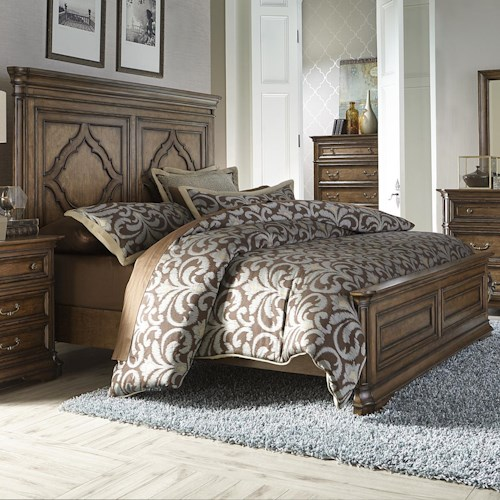 Vendor 5349 Amelia Traditional Queen Panel Bed with Heavy Crown Molding