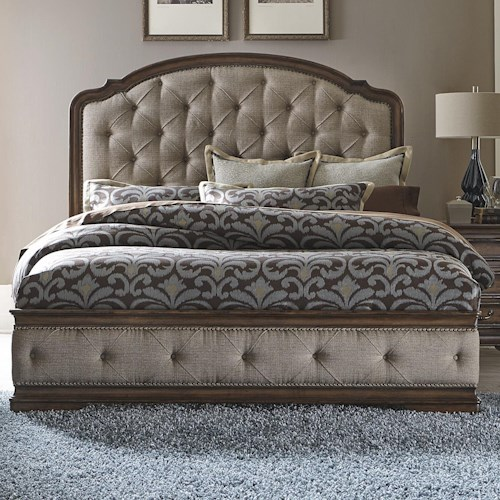 Vendor 5349 Amelia Traditional King Upholstered Bed with Button Tufting