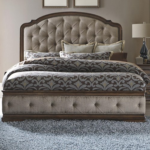 Vendor 5349 Amelia Traditional Queen Upholstered Bed with Button Tufting