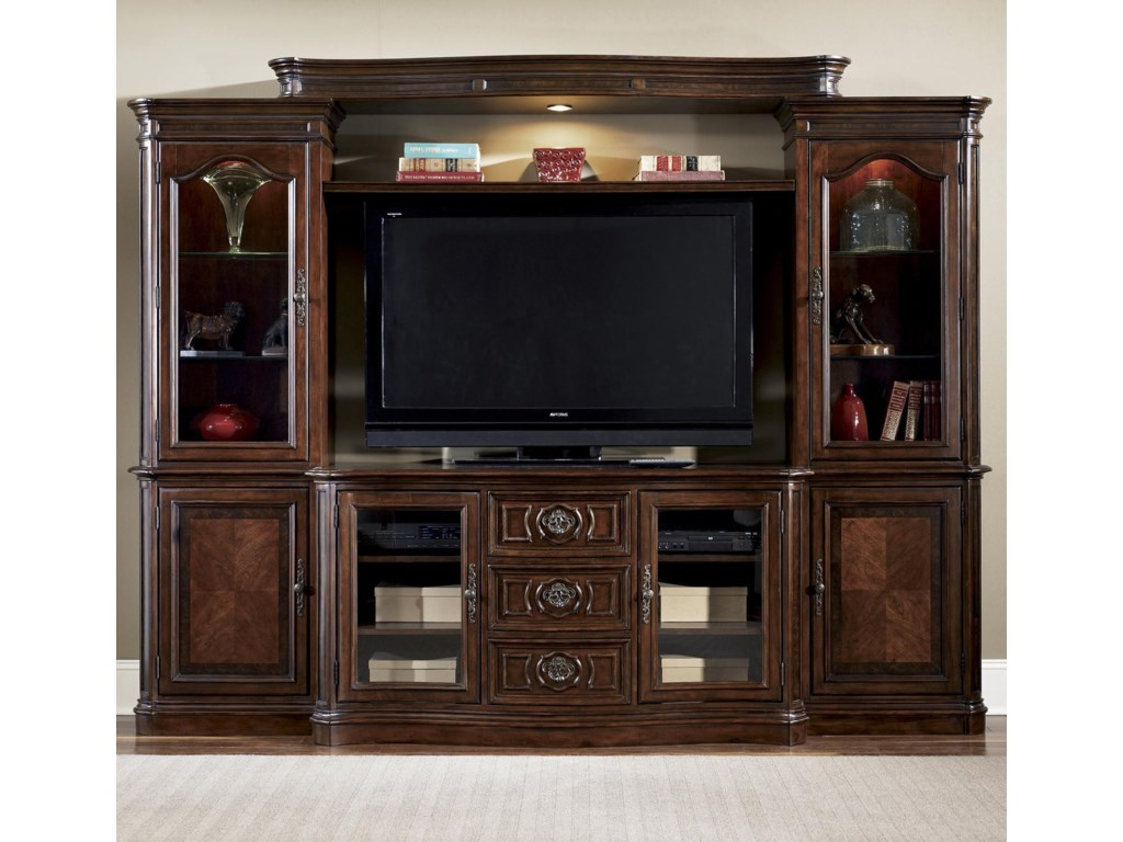 Shown as Complete Entertainment Wall Unit with Light Bridge and Left and Right Piers