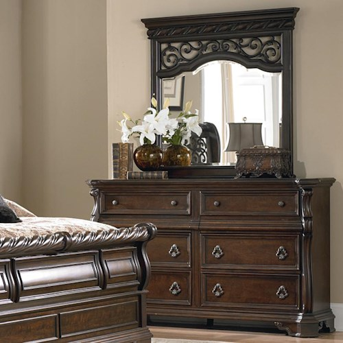 Liberty Furniture Arbor Place 8 Drawer Double Dresser and Landscape Mirror