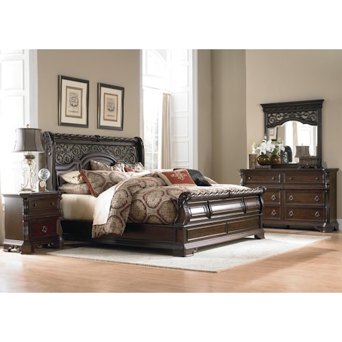 Liberty Furniture Arbor Place King Sleigh Bed, Dresser, Mirror & Nightstand