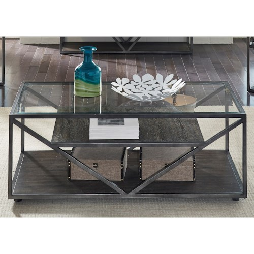 Liberty Furniture Urban Rectangular Cocktail Table with Glass Top