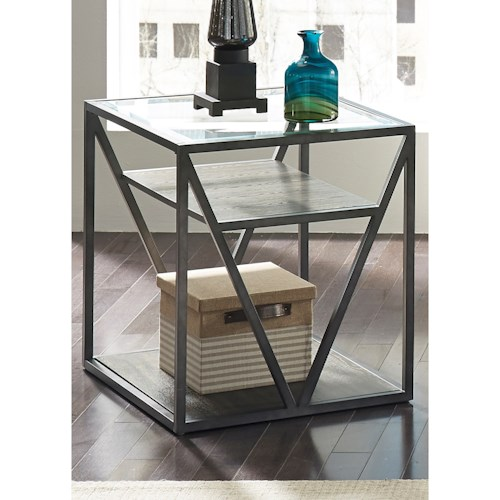 Liberty Furniture Arista Occasional End Table with Glass Top