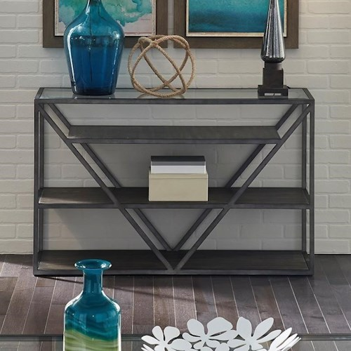 Liberty Furniture Urban Sofa Table with Glass Top