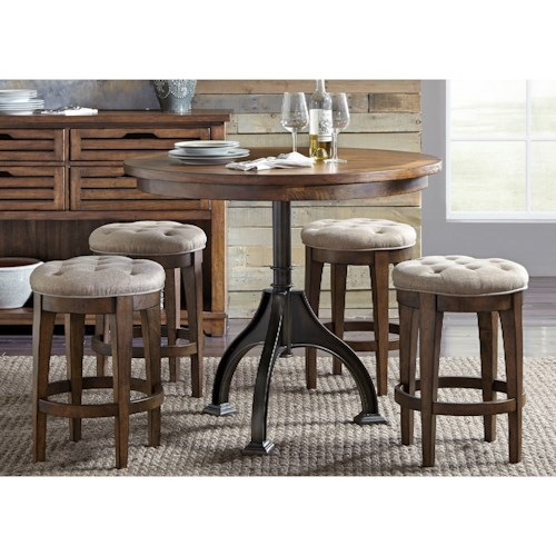 Liberty Furniture Arlington 411 5 Piece Gathering Table Set with Upholstered Barstools