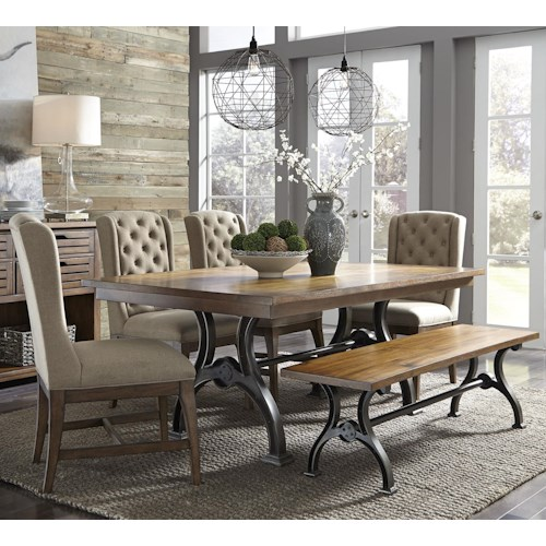 Liberty Furniture Emma 6 Piece Trestle Table Set with Bench