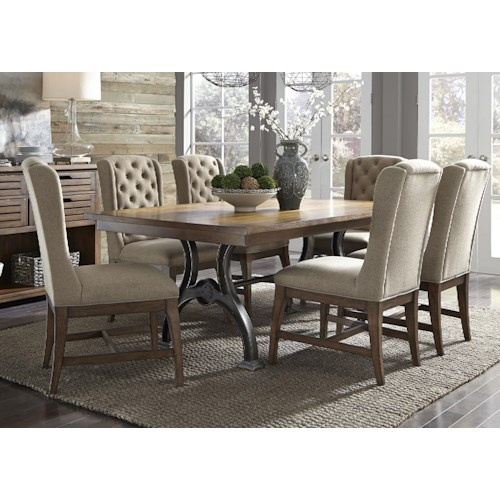 Liberty Furniture Arlington 411 7 Piece Trestle Table and Chair Set