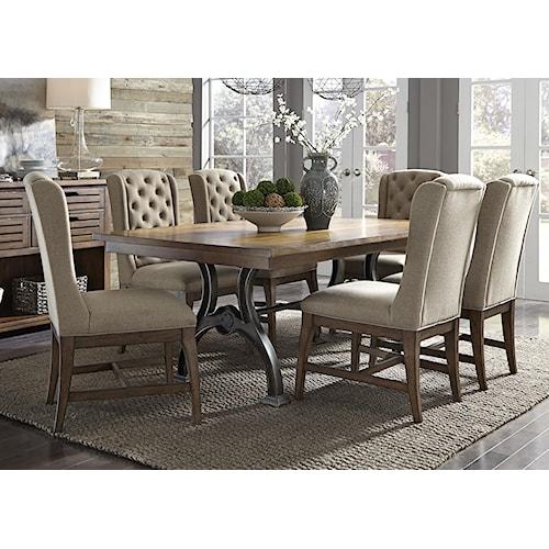 Vendor 5349 Arlington 411 7 Piece Trestle Table and Chair Set