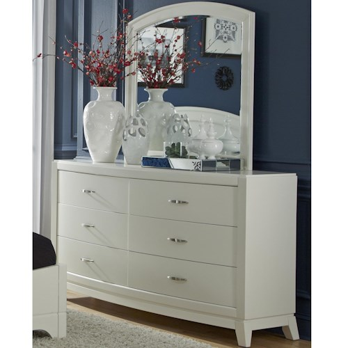 Liberty Furniture Avalon II Dresser & Arch Top Mirror Set