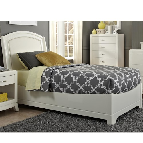 Vendor 5349 Avalon II Twin Bed with Arched Leather Headboard