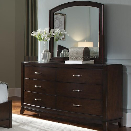 Liberty Furniture Avalon Dresser & Arch Top Mirror Set