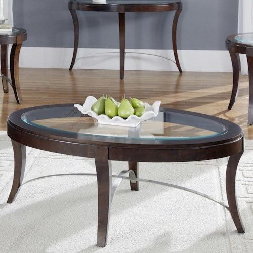 Liberty Furniture Avalon Glass Top Oval Cocktail Table