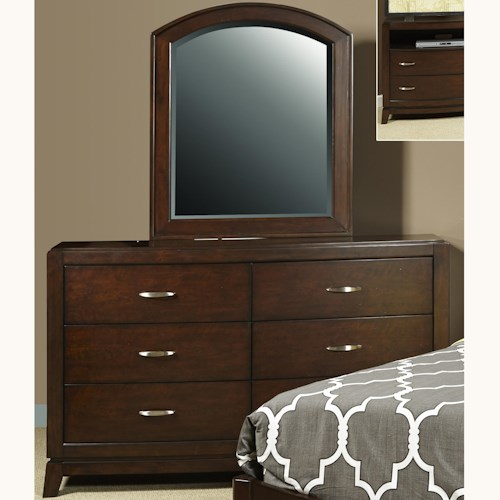 Liberty Furniture Avalon Youth Dresser with 5 Drawers & Arched Mirror