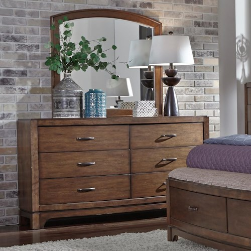 Liberty Furniture Avalon III Dresser & Arch Top Mirror Set