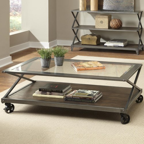 Liberty Furniture Avignon Glass Top Cocktail Table with Locking Casters