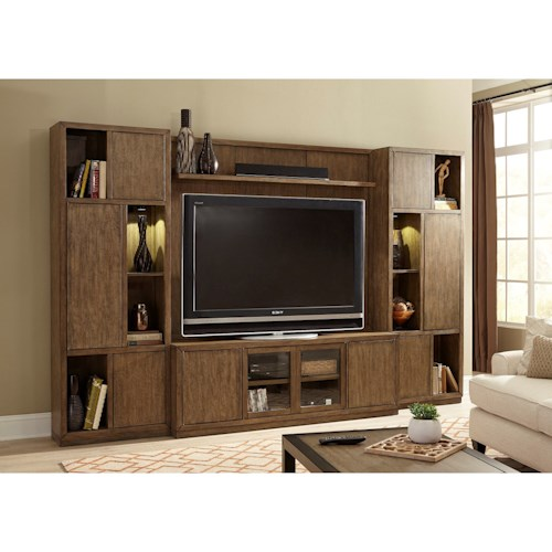 Liberty Furniture Bennett Point Entertainment Center with Piers and LED Lighting