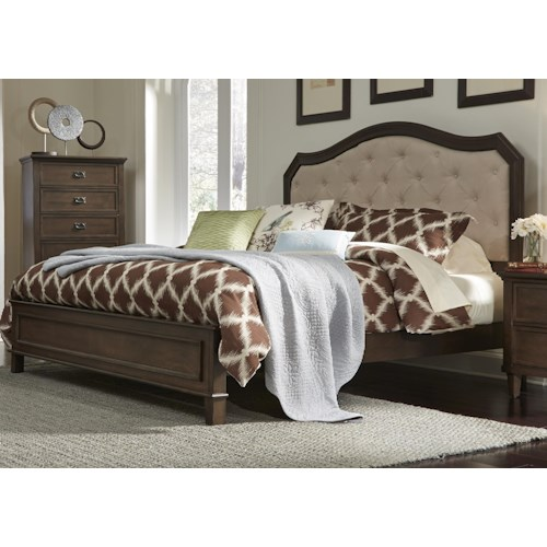 Vendor 5349 Berkley Heights Queen Panel Bed with Upholstered Headboard