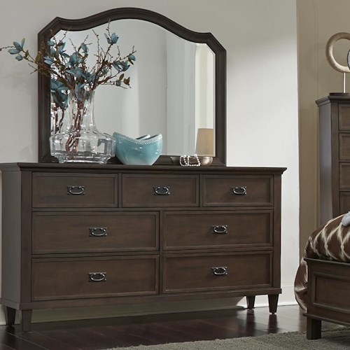 Liberty Furniture Berkley Heights Dresser with Seven Dovetail Drawers and Mirror