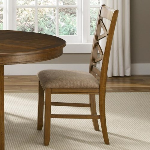 Vendor 5349 Bistro Double X-Back Side Chair with Upholstered Seat