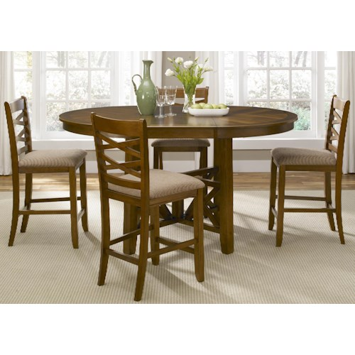 Liberty Furniture Applewood Five Piece Gathering Table and Counter Chair Dining Set