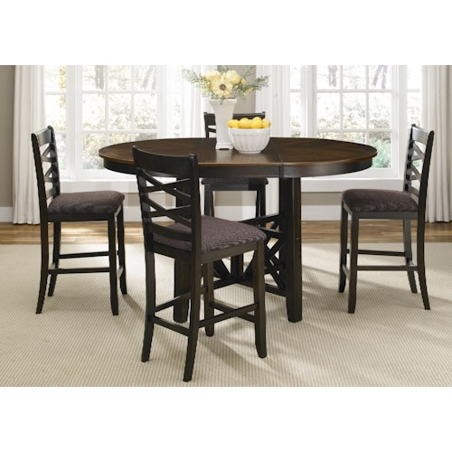 Vendor 5349 Bistro II Five Piece Gathering Table and Counter Chair Dining Set