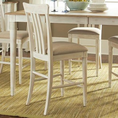 Liberty Furniture Bluff Cove Coastal Slat Back Counter Chair with Upholstered Seat