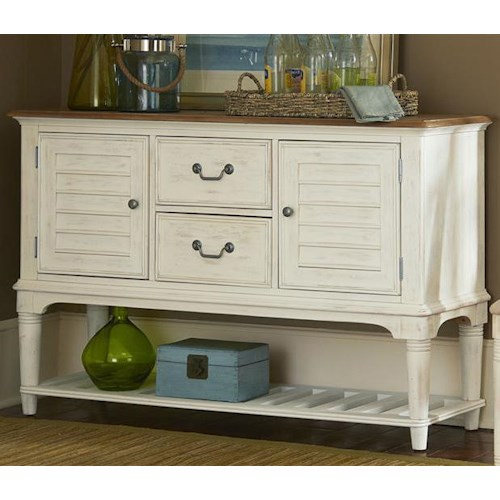 Liberty Furniture Bluff Cove Coastal Leg Server with Two Drawers