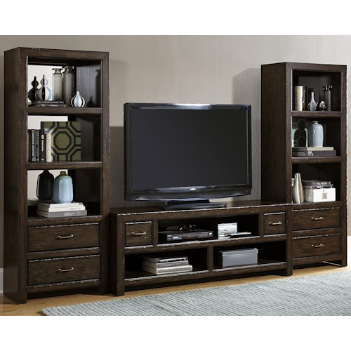 Liberty Furniture Brayden 3 Piece Entertainment Center with Mirrored-Back Piers