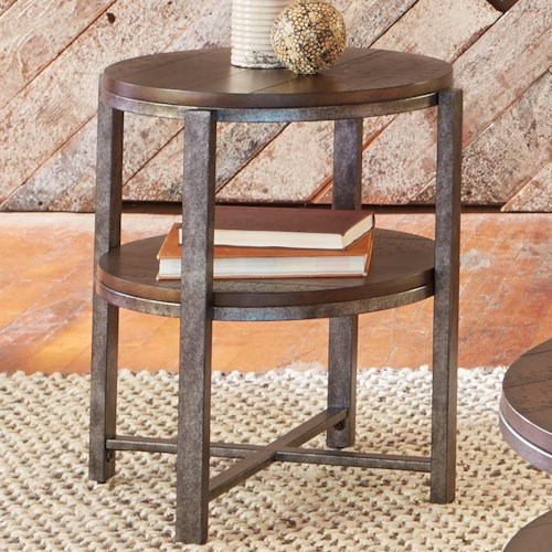 Liberty Furniture Breckinridge Round End Table with Shelf