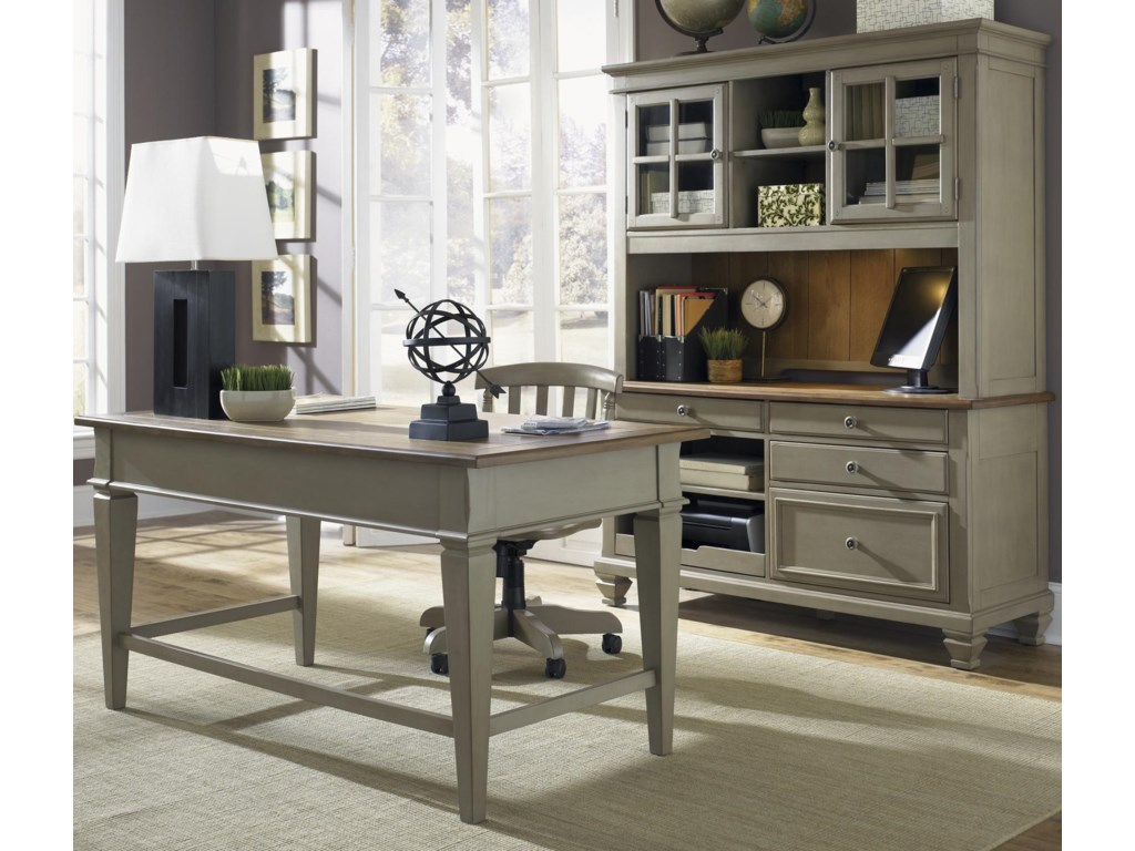 Shown in Room Setting with Desk and Hutch