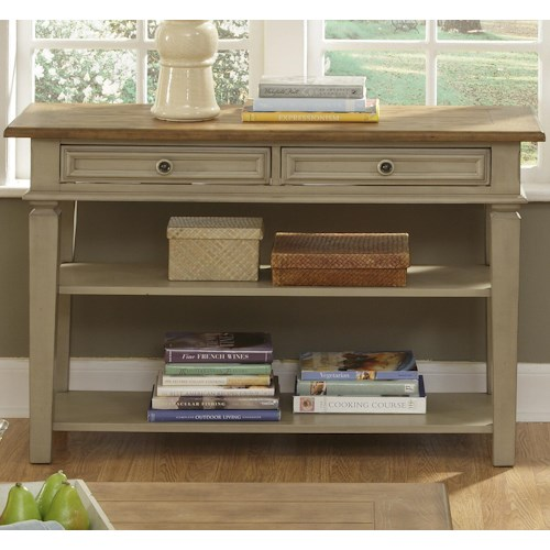 Liberty Furniture Bungalow Console Table w/ 2 Drawers and Shelves