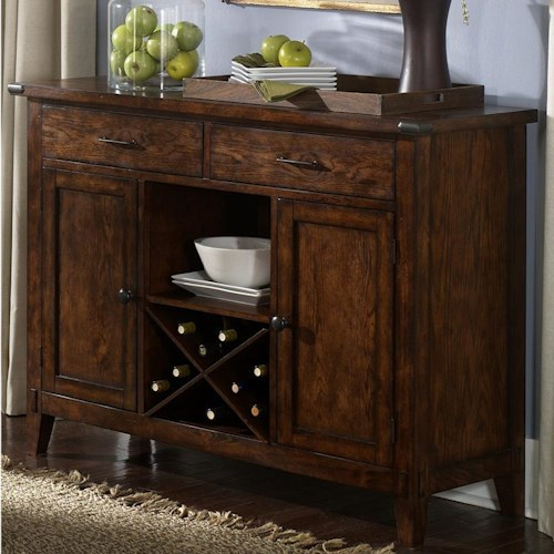 Liberty Furniture Cabin Fever Server with 2 Doors, 2 Drawers, Shelf, and Wine Rack