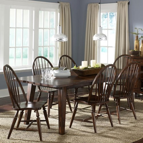 Vendor 5349 Cabin Fever 7-Piece Rectangular Leg Table with 6 Windsor Back Side Chairs
