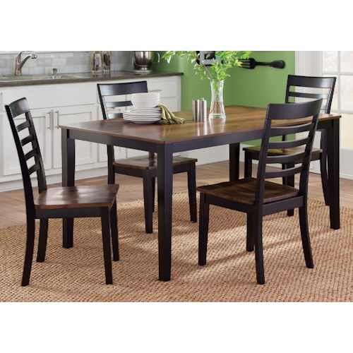 Vendor 5349 Cafe Dining 5 Piece Rectangular Table and Slat Back Chair Set