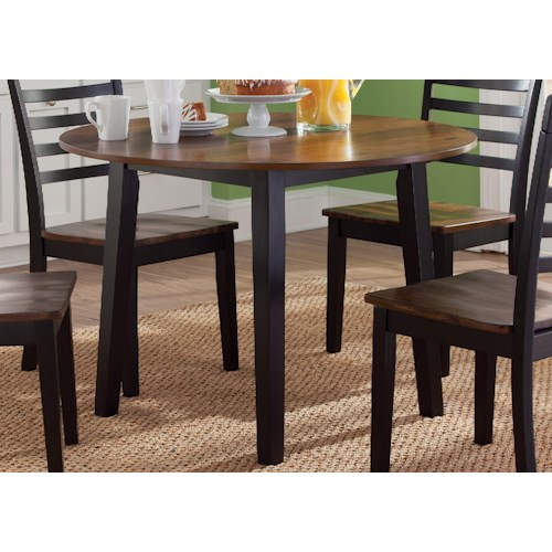 Liberty Furniture Cafe Dining Round Fix Top Table in Two-Tone Finish