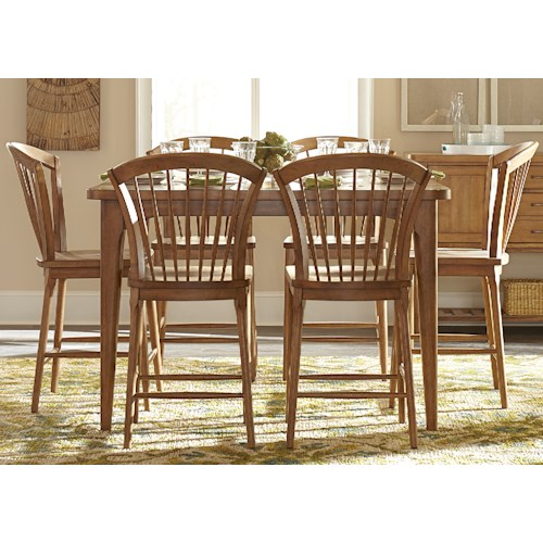 Liberty Furniture Candler 7 Piece Counter Height Gathering Table Set