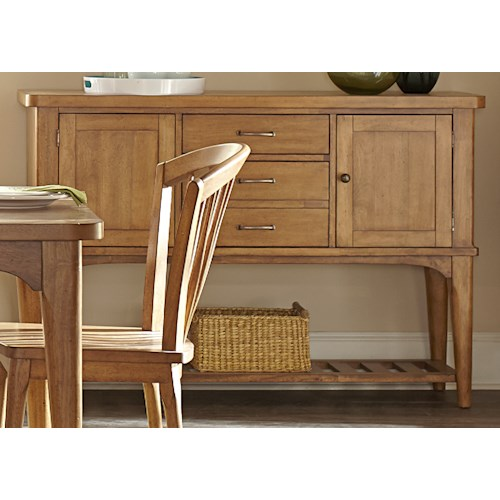 Liberty Furniture Candler 3 Drawer Server with Wine Storage