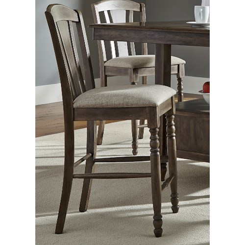 Liberty Furniture Candlewood RTA Slat Back Barstool with Turned Front Legs