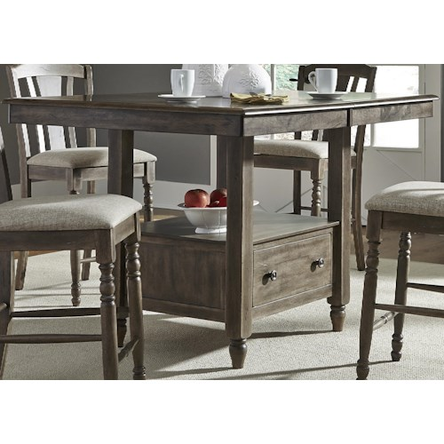 Liberty Furniture Candlewood Center Island Gathering Table with Built In Storage