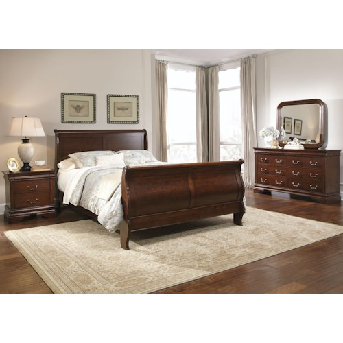 Liberty Furniture Carriage Court Queen Sleigh Bed, Dresser & Mirror